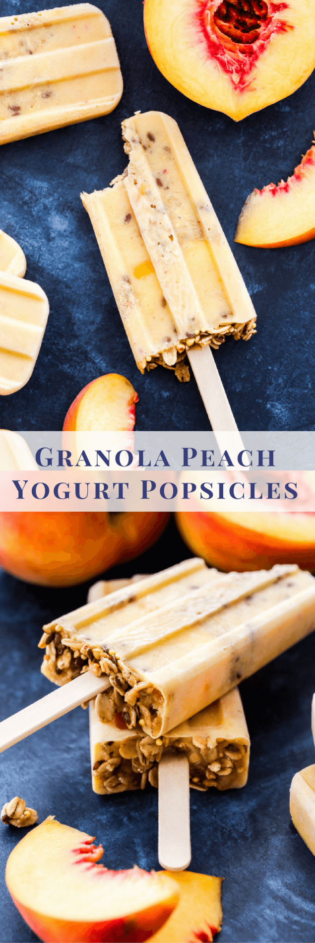 Granola Peach Yogurt Popsicles are perfect for summer snacking! Fresh peaches, Greek yogurt and honey are blended together then combined with layers of granola for the ultimate healthy treat!