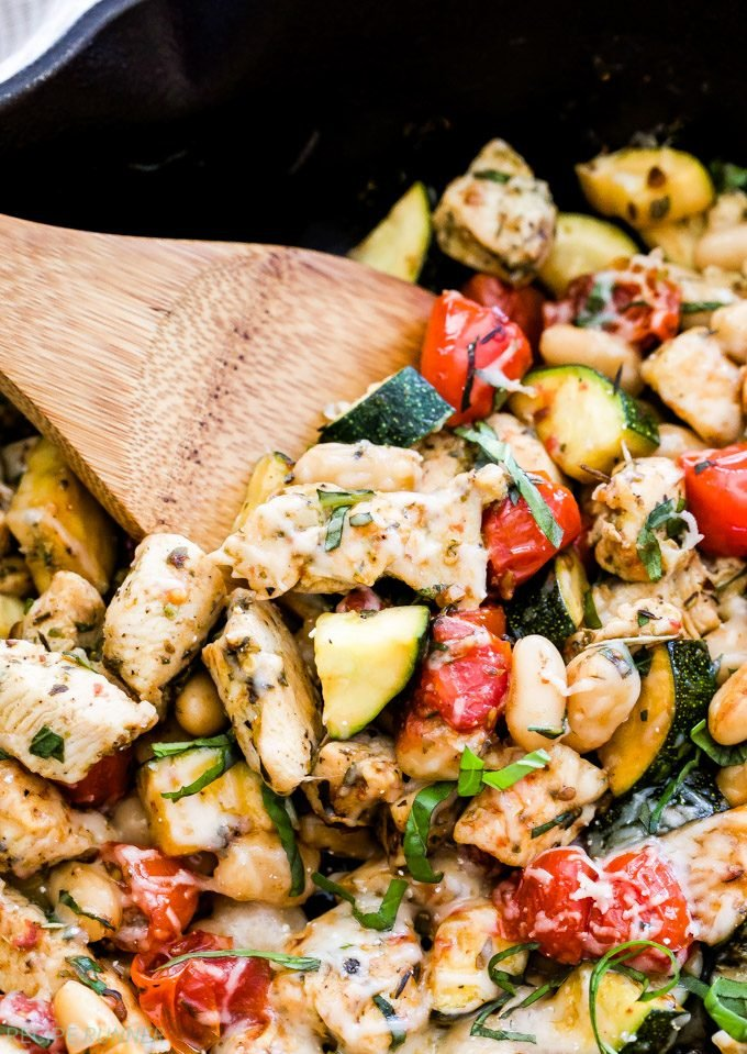 Easy, healthy and on the table in minutes! This family friendly Italian Chicken and Vegetable Skillet is full of flavor, fresh vegetables and plenty of protein. Serve it right out of the skillet or on top of your favorite pasta!