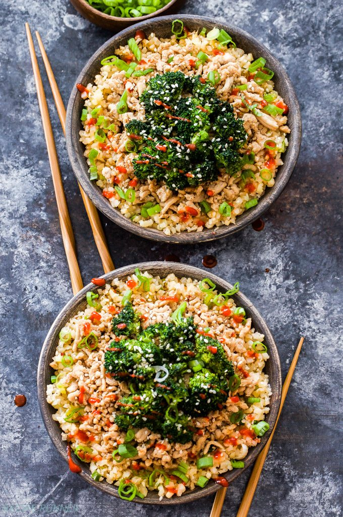 Asian Ground Turkey and Broccoli Cauliflower Rice Bowls are perfect for a quick and easy, stress-free dinner. Low-carb, gluten-free and can easily be made paleo with a couple adjustments.
