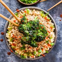 Asian Ground Turkey and Broccoli Cauliflower Rice Bowls