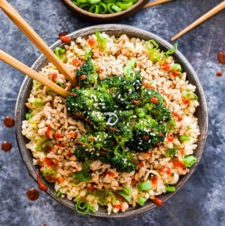 Asian Ground Turkey and Broccoli Cauliflower Rice Bowls