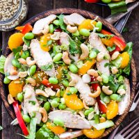 Asian Sesame Chicken and Cashew Salad