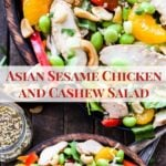 Asian Sesame Chicken and Cashew Salad. A filling and main dish salad full of healthy ingredients! Top this crunchy salad with a sweet sesame honey vinaigrette for maximum flavor!