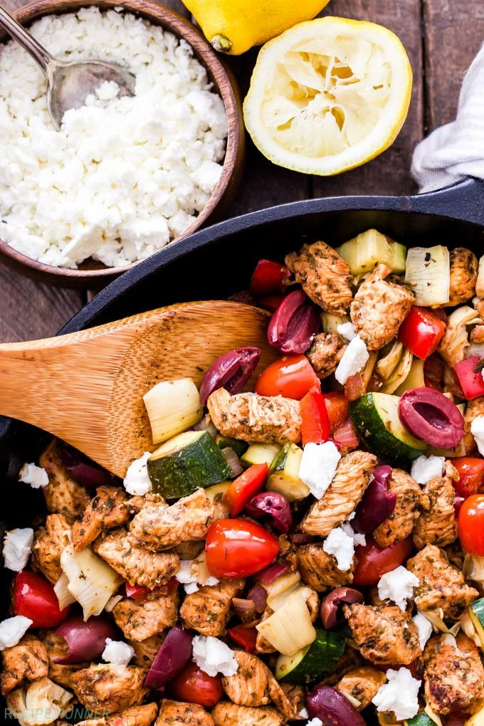 A simple Greek marinade transforms the chicken into a flavorful, quick and easy, one skillet dinner! If you love Greek flavors then you'll love this Greek Chicken and Vegetable Skillet with Olives and Feta!