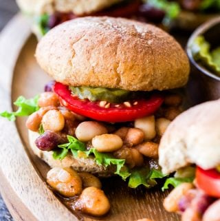 These protein packed Vegan Three Bean Sloppy Joe Sliders are perfect for an easy weeknight dinner or they make great game day food! Simmered in a mouthwatering sweet and tangy sauce and on the table in under 30 minutes!