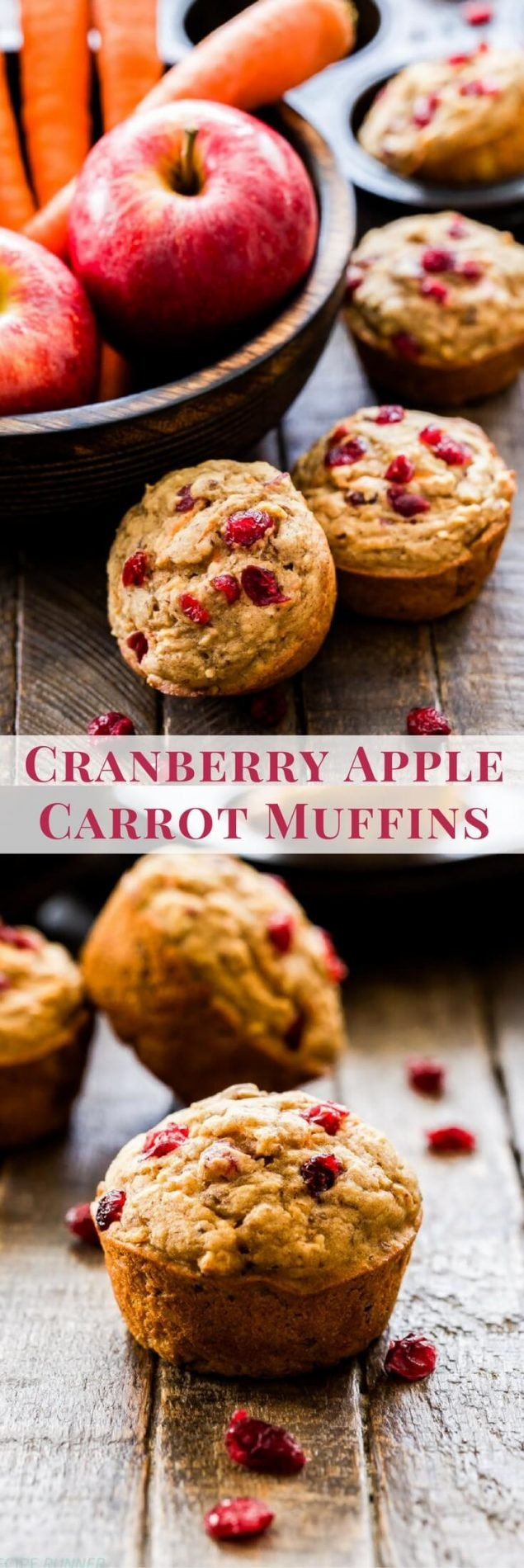 Whole wheat and vegan friendly muffins loaded with apples, carrots, cranberries and pecans are the perfect way to start the morning! These Cranberry Apple Carrot Muffins are hearty, moist and won't leave you hungry or with a sugar buzz.