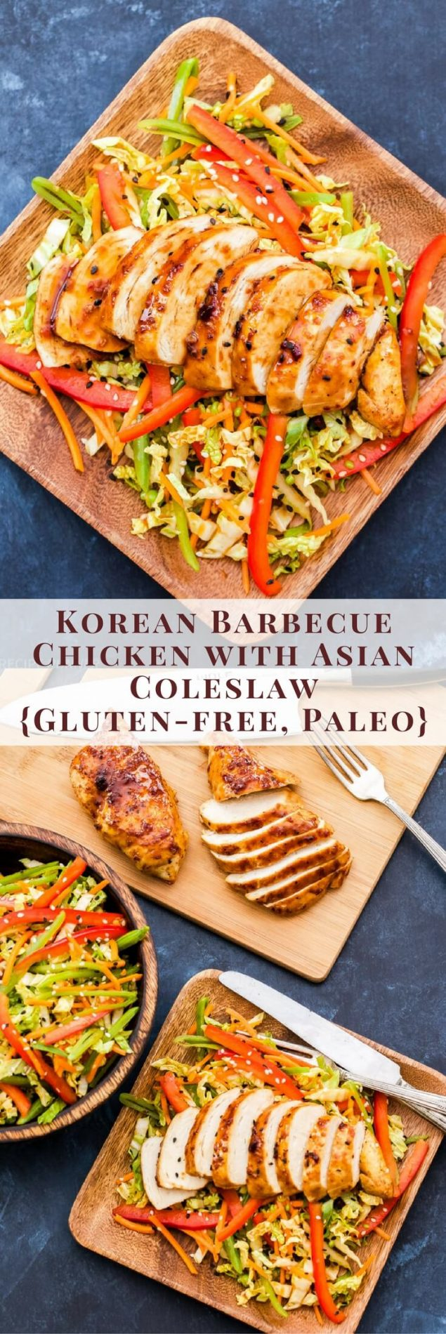 This Korean Barbecue Chicken with Asian Coleslaw has the perfect balance of savory, spicy and sweet flavors. Perfectly juicy baked chicken with a crunchy slaw on the side is a meal the whole family will love!