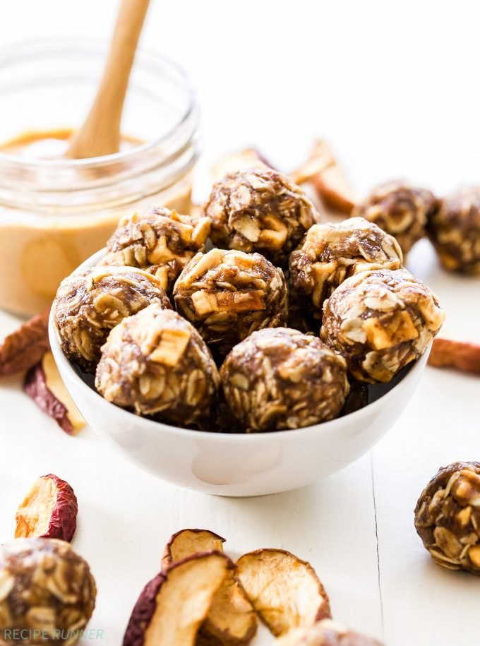 Peanut Butter Apple Energy Bites taste just like your favorite childhood snack! Gluten-free, great for refueling after a workout and they have a vegan option as well.