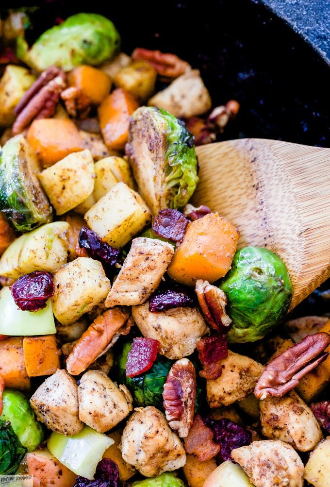 Take advantage of seasonal produce and use it in this easy to make Harvest Chicken and Vegetable Skillet. It has the perfect combination of savory and sweet flavors with an unexpected, but delicious use of cinnamon in the spice blend.