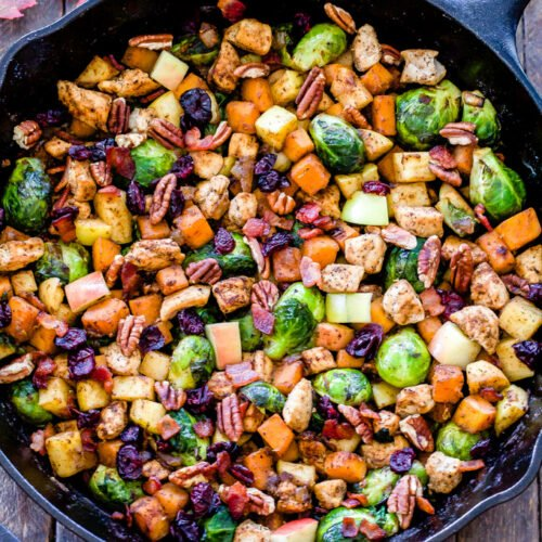 Take advantage of seasonal produce and use it in this easy to makeHarvest Chicken and Vegetable Skillet. It has the perfect combination of savory and sweet flavors with an unexpected, but delicious use of cinnamon in the spice blend.
