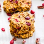 Pumpkin Cranberry Pecan Breakfast Cookies are great for a grab-and-go breakfast, post workout refueling or a healthy snack or dessert. Full of protein, carbs and plenty of pumpkin spice!