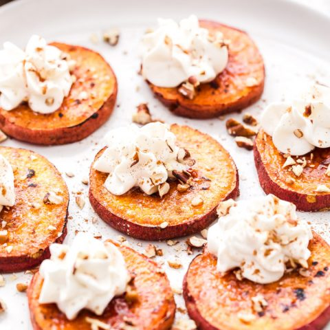 Brûléed Sweet Potato Bites with Bourbon Maple Whipped Cream