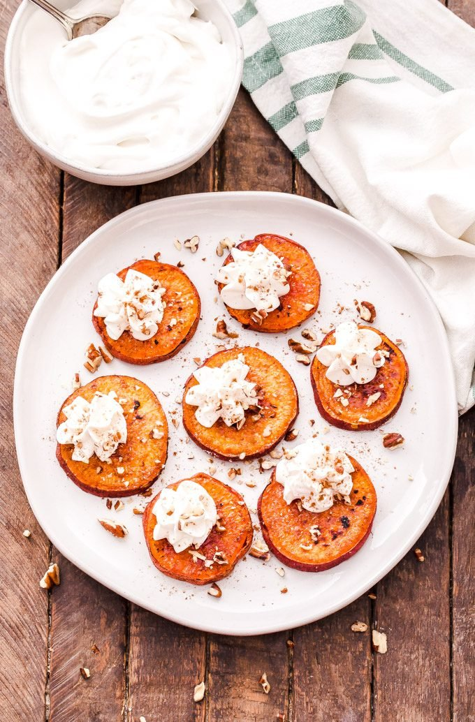 Not interested in making a pie for your holiday dessert? No problem! These Brûléed Sweet Potato Bites with Bourbon Maple Whipped Cream are the perfect solution! #sweetpotato #dessert #whippedcream #maple #bourbon #glutenfree #thanksgiving #christmas