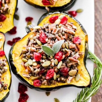 half of an acorn squash on a white plate stuffed with a mixture of wild rice, lentil, herbs and dried cranberries.