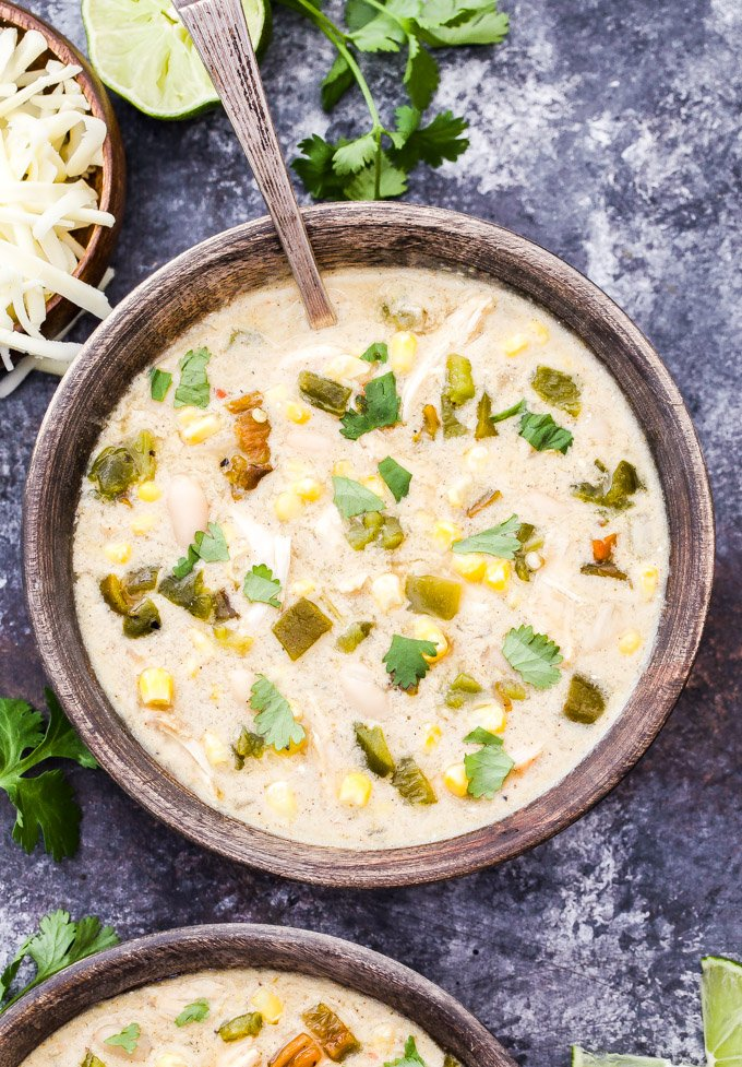 Slow cooker creamy green chile chicken enchilada soup recipe runner this slow cooker creamy green chile chicken enchilada soup has all the wonderful flavor of the forumfinder Images