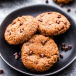 These one bowl, easy to make Gingerbread Chocolate Chip Almond Butter Cookies are perfect if you're wanting a more wholesome holiday treat! Crunchy on the outside and soft and chewy on the inside, you won't be able to resist! (Gluten-free and Paleo)