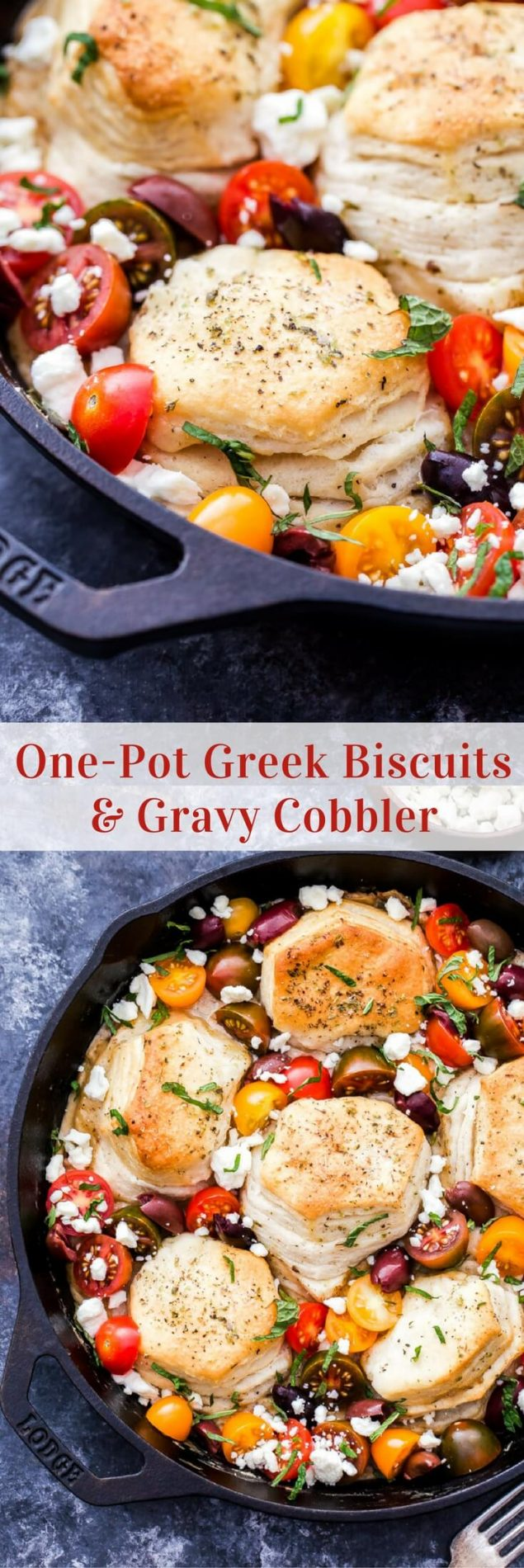 Biscuits and gravy get a delicious Greek flavored makeover and it's all made in one pot! One-Pot Greek Biscuits and Gravy Cobbler is perfect for your next brunch or whenever you need a cozy plate of comfort food! #biscuitsandgravy #brunch #breakfast #greek #sausage #feta #onepot