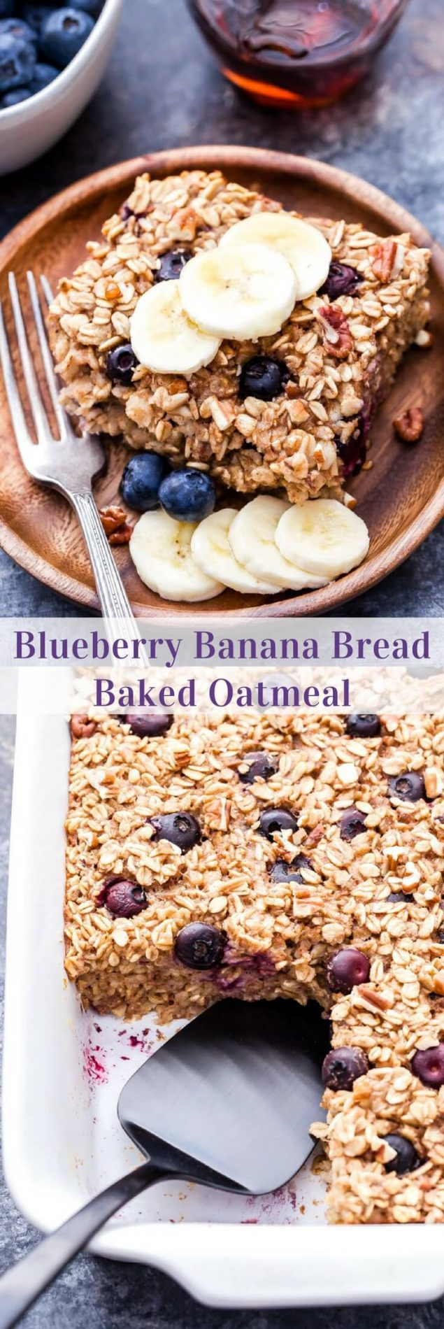 Get your morning started with this easy and satisfying Blueberry Banana Bread Baked Oatmeal! Delicious right out of the oven and it makes great leftovers throughout the week. #oatmeal #bakedoatmeal #blueberries #banana #glutenfree #breakfast