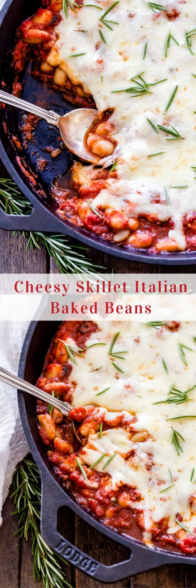 Classic baked beans get a delicious Italian twist! Cheesy Italian Baked Beans is a hearty and comforting vegetarian meal that's easy and affordable to make. #bakedbeans #cheese #italian #easyrecipe #vegetarian #glutenfree