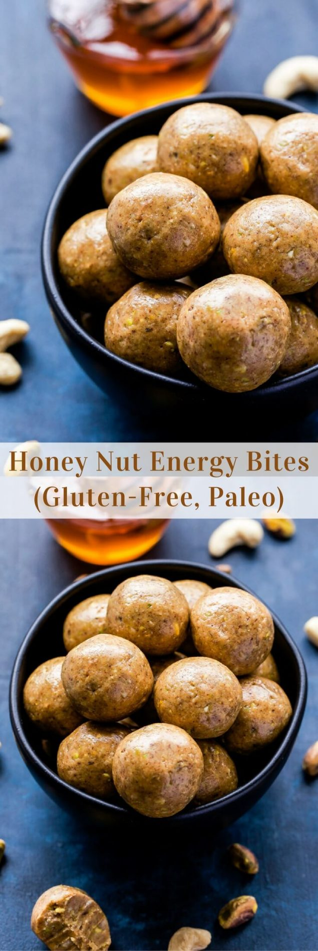 Honey Nut Energy Bites taste exactly as the name suggests. They're perfect for pre-workout fuel, an afternoon snack or a healthy after dinner treat! #energybites #honey #paleo #glutenfree #snack #healthy #nuts