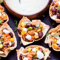 Barbecue Salmon Black Bean and Corn Taco Cups