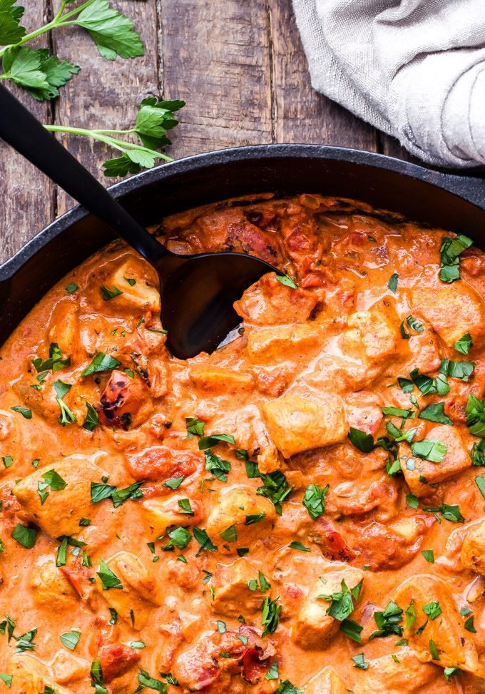 Easy Smokey Chicken Paprikash is a healthy, one skillet version of traditional chicken paprikash. Serve over egg noodles for a fast, family dinner! #chicken #chickenpaprikash #easydinner #glutenfree #healthyrecipe