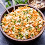 So many bright, fresh flavors in this Mediterranean Bulgur Salad with Carrots, Almond and Feta! It's so good you'll be going back for seconds and thirds! #salad #healthyrecipe #bulgur #carrots #mediterraneandiet