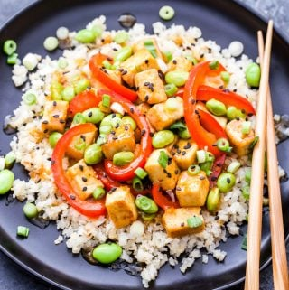Orange Tofu and Edamame Stir-Fry
