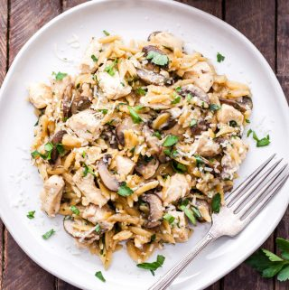 Parmesan Herb Chicken, Mushroom and Orzo Skillet