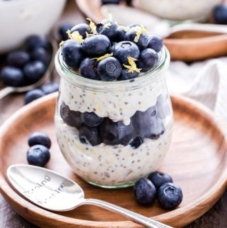 Blueberry Lemon Overnight Oats are a spring flavor you won't be able to resist! Thick, creamy and full of protein. They're perfect for a quick and balanced breakfast! #overnightoats #blueberries #lemon #breakfast #glutenfree