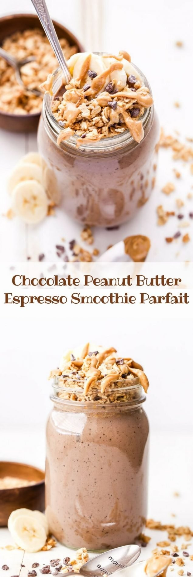 Chocolate Peanut Butter Espresso Smoothie Parfait is the solution for people who love to drink smoothies, but want something to eat too. Swirl in the granola and eat it with a spoon or drink it with a straw and save the crunch for the end! #chocolate #peanutbutter #smoothie #espresso #breakfast #glutenfree