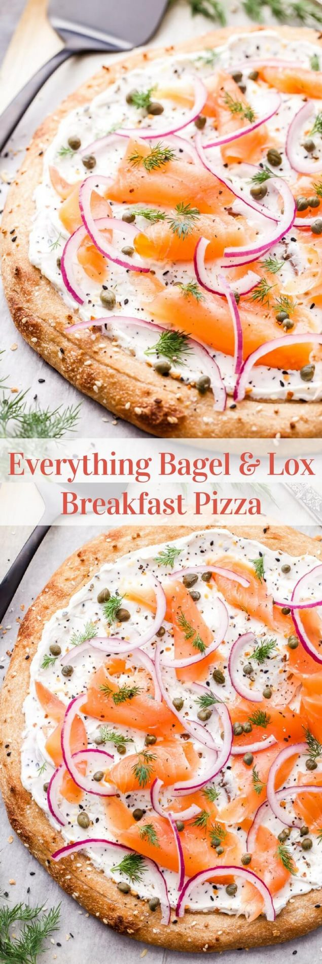 Everything Bagel and Lox Breakfast Pizza | If you love bagels and lox then you'll go crazy for this Everything Bagel and Lox Breakfast Pizza! A fun and tasty mashup on the classic that will have everyone grabbing a slice at your next brunch! #bagelsandlox #pizza #brunch #breakfast #lox