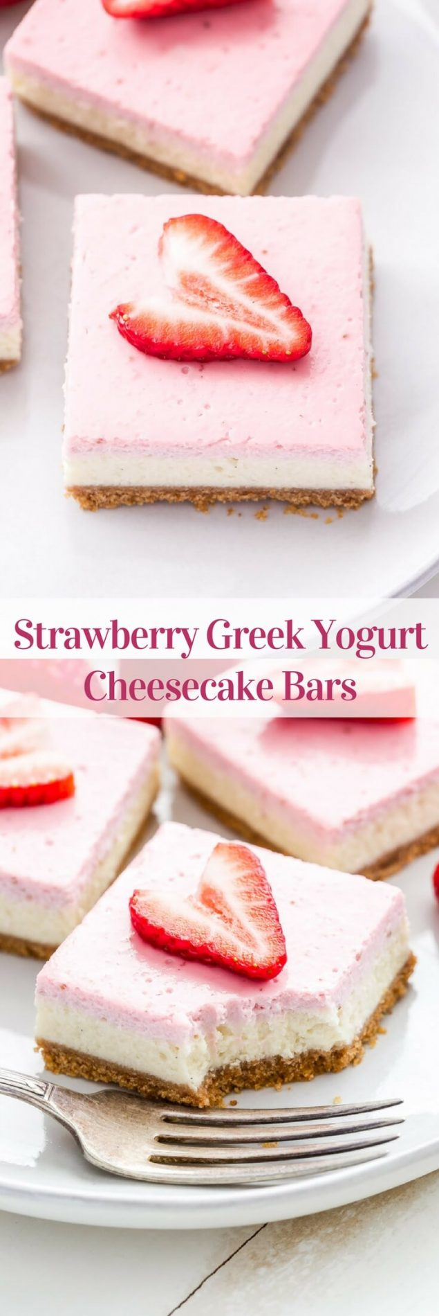 Strawberry Greek Yogurt Cheesecake Bars are perfect for spring! You'll never suspect that these creamy, rich, layered bars were lightened up! #cheesecake #greekyogurt #strawberry #dessert #easter