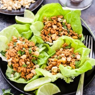 These Thai Chicken Lettuce Wraps are a flavor explosion for your tastebuds! Sweet, spicy, savory they have it all. A quick and easy dinner or party party appetizer that will be ready in 30 minutes or less! #thai #chicken #lettucewraps