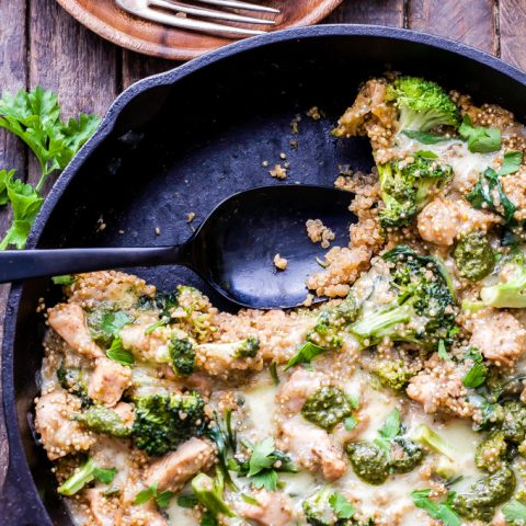 Cheesy Pesto Chicken and Broccoli Quinoa Skillet. A quick and easy, one pan, healthy, gluten-free dinner the whole family will love! #skilletdinner #quinoa #broccoli #chicken #glutenfree