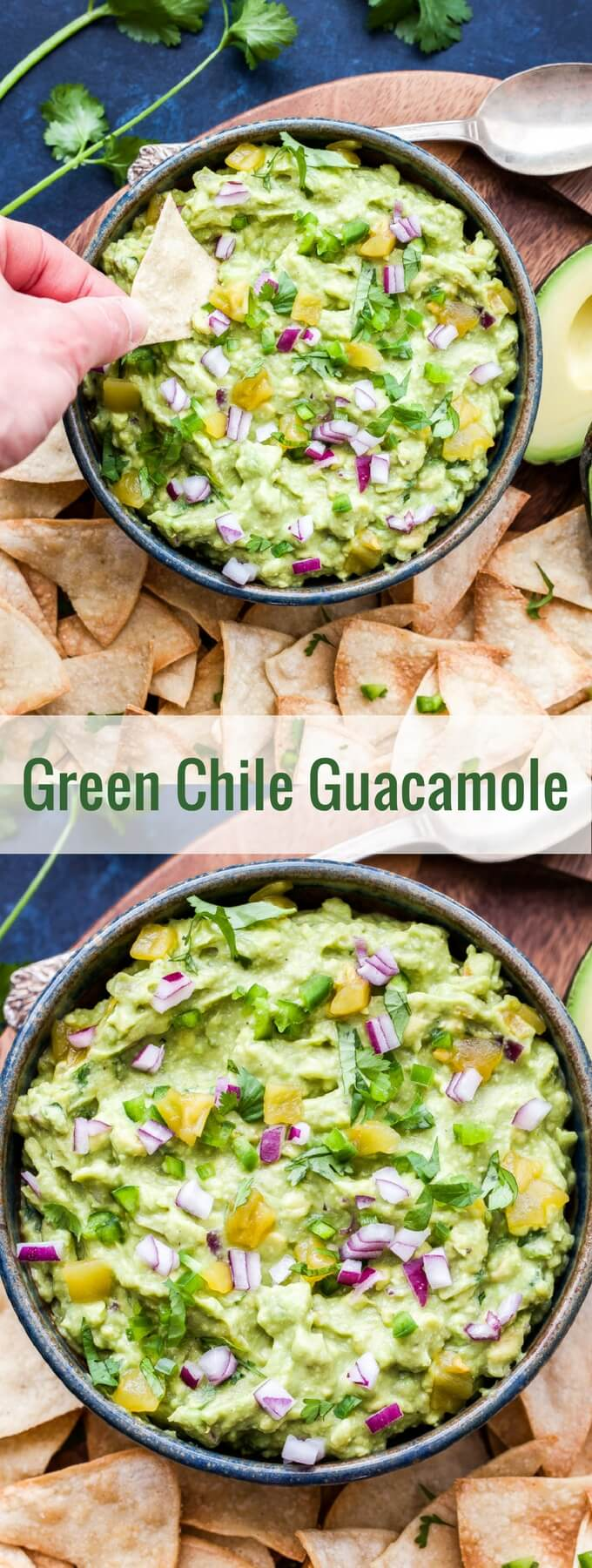 Green Chile Guacamole is the perfect way to add a little heat and smoky flavor to traditional guacamole. Serve with chips, on tacos or any of your favorite Mexican dishes! #guacamole #greenchile #dip #mexicanfood #avocados