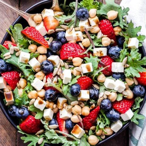 Berry, Chickpea, Feta Salad with Honey Balsamic Vinaigrette