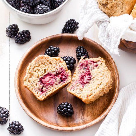 Blackberry Maple Tahini Muffins