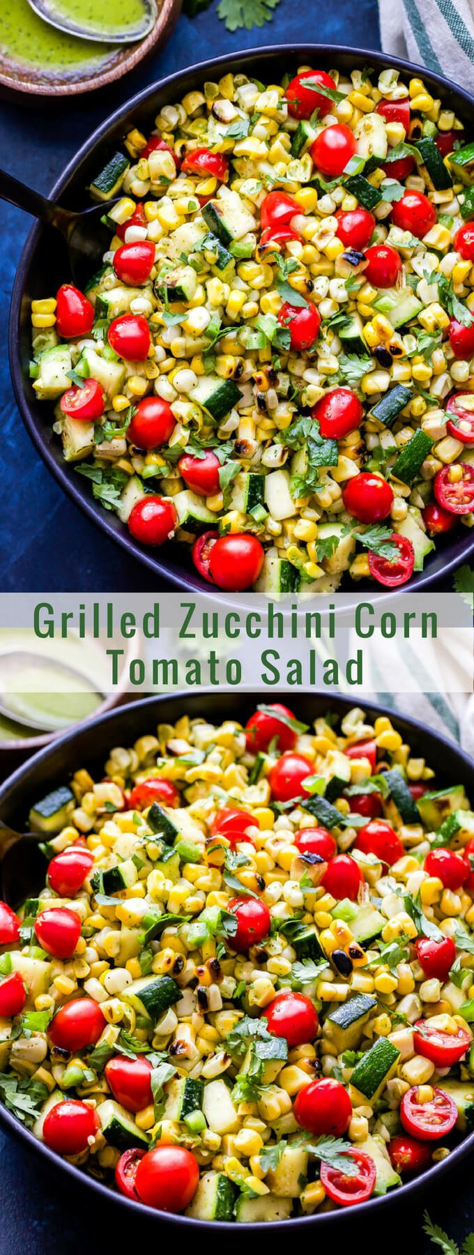 Grilled Zucchini Corn Tomato Salad is a simple salad using all of summer's finest produce. Grilling the vegetables adds a wonderful smoky flavor and the cilantro lime vinaigrette brings the whole salad together! #salad #corn #zucchini #tomatoes #grilling #glutenfree #vegan