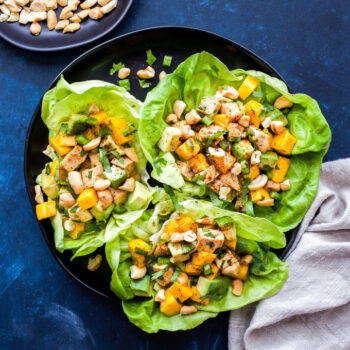 Mango, Avocado, Chicken Lettuce Wraps will be your favorite, low-carb dinner to make this summer! Full of protein, healthy fats and a little sweetness from the mango. It's perfect for lunch or an easy dinner.#lettucewraps #chicken #mango #avocado #lowcarb #paleo #glutenfree
