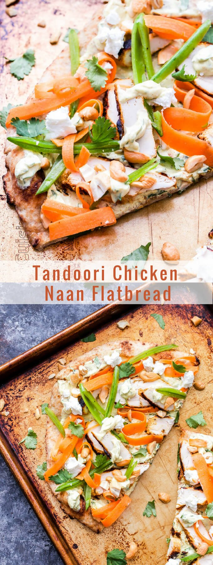 Tandoori Chicken Naan Flatbread is perfect for dinner or an appetizer. Flavorful, grilled, Indian spiced chicken, crisp sugar snap peas and carrot ribbons all piled onto yogurt topped naan flatbreads. It's a bite you'll never forget! #naan #flatbread #tandoorichicken