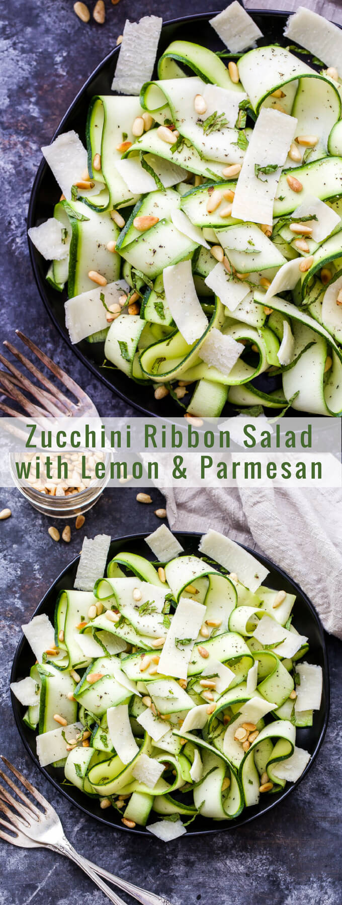 Zucchini Ribbon Salad with Lemon and Parmesan Cheese is a simple and easy to make salad that's loaded with fresh flavor! It's the perfect way to use this year's summer zucchini crop! #zucchini #salad #glutenfree #lemon #parmesancheese
