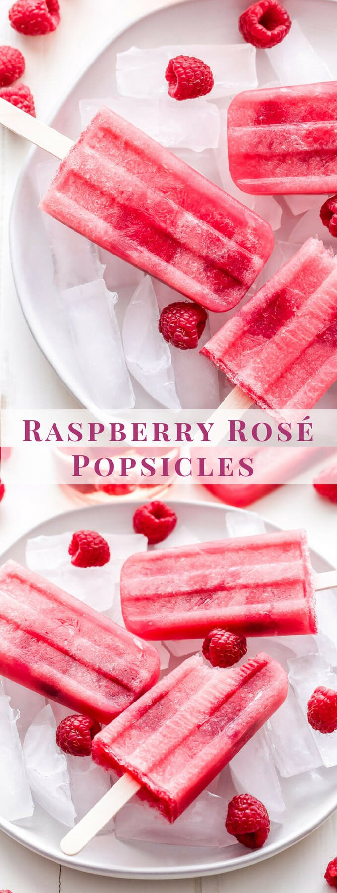 Raspberry Rosé Popsicles are the perfect summer treat for all the rosé lovers! These boozy wine popsicles will cool you off on a hot day and are sure to be a hit at your next party! #popsicles #rosé #raspberries #dessert