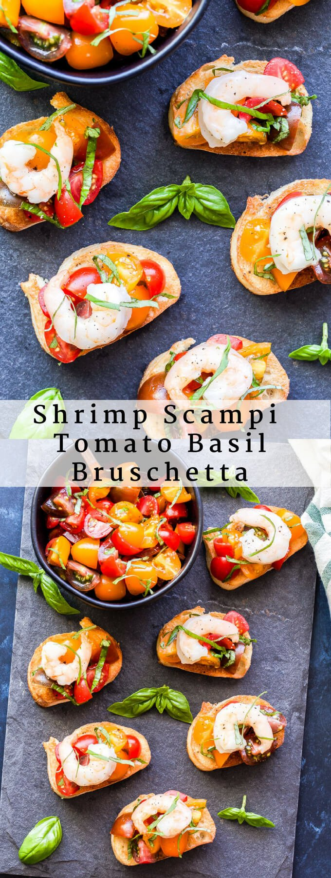 Shrimp Scampi Tomato Basil Bruschetta is a great way to turn classic bruschetta into something even more delicious! Super easy to make and perfect for an appetizer or even a main dish. #shrimp #bruschetta #shrimpscampi #appetizer