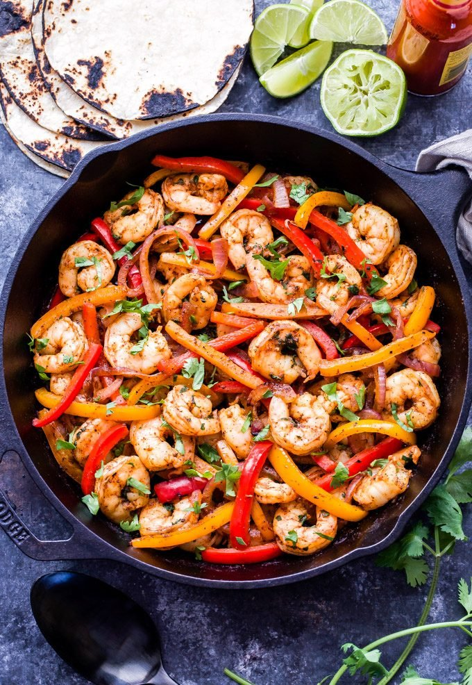 Skillet Shrimp Fajitas in cast iron skillet.