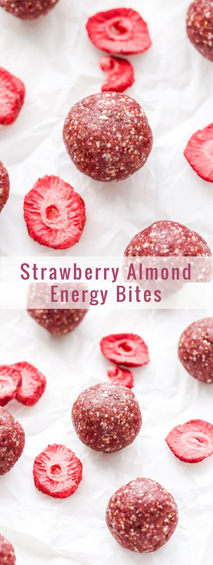 Strawberry Almond Energy Bites are easy to make and great for a pre or post workout snack. Gluten-free, paleo, vegan and full of strawberry flavor! #energybites #paleo #vegan #glutenfree #strawberry #almonds #healthysnack