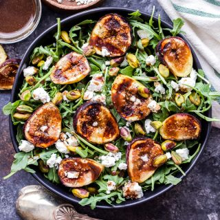 Grilled Fig, Goat Cheese and Pistachio Salad