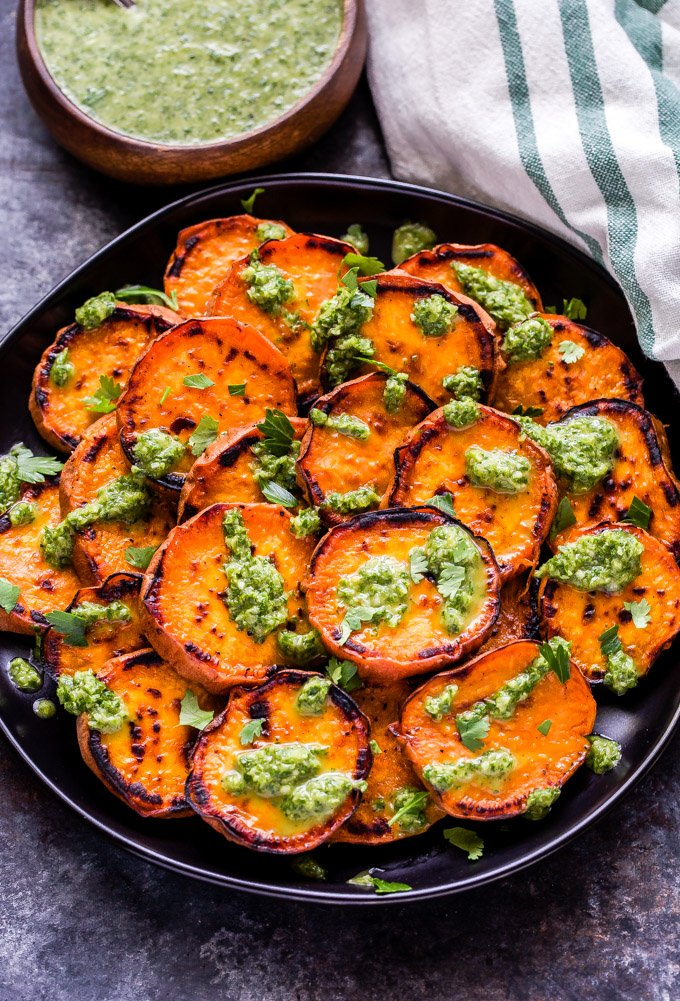 Grilled Sweet Potatoes with Cilantro Chimichurri