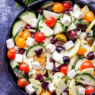 Mediterranean Zucchini, Tomato and Feta Salad