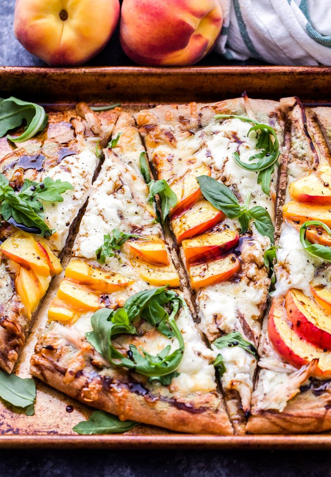 Chicken Peach Ricotta Pizza With Arugula And Balsamic Glaze Recipe Runner